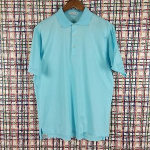 Peter Millar Cotton Light Blue Polo Golf Shirts M